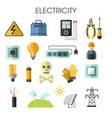 electricity isolated icons energy generation vector image vector image