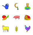 farmer icons set cartoon style vector image vector image