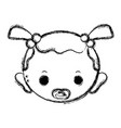 figure baby girl head with pacifier and hairstyle vector image vector image