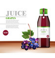 grapes juice realistic product packaging vector image vector image