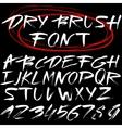 Hand drawn font Brush stroke alphabet Grunge vector image