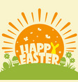 happy easter background with text and sun and vector image