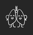 happy human lungs character chalk icon vector image vector image