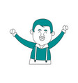 happy man in folk german costume raising arms icon vector image vector image