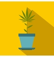 Hemp pot icon flat style vector image vector image
