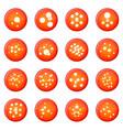 molecule icons set red vector image vector image