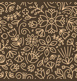 natural seamless pattern with outlines blooming vector image vector image