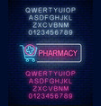 neon pharmacy glow signboard with medical cross vector image