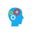 pictograph of gear in head flat icon vector image vector image