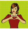 pop art retro style woman showing heart hand sign vector image vector image