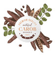 round emblem with hand drawn carob pods and leaves vector image vector image
