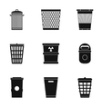 Rubbish bin icons set simple style vector image vector image