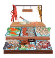 seafood market concept vector image vector image
