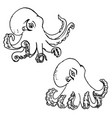 Set of hand drawn octopus isolated on white