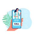 telemedicine hand holding phone medical mobile vector image