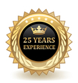 Twenty Five Years Experience Badge vector image