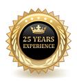 Twenty Five Years Experience Badge vector image vector image