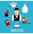 Waiter profession with flat tableware icons vector image vector image