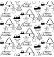 merry christmas pattern with black and white mount vector image