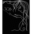 Woman Face Silhouette With Wavy Hair vector image