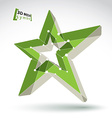 3d mesh green star sign isolated on white vector image