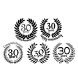 Anniversary laurel wreaths 30 years vector image