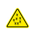 attention mosquito midge in yellow triangle vector image vector image