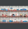 automobile service color set vector image