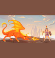 battle with dragon ancient warrior fighting fire vector image vector image