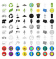 bio and ecology cartoon icons in set collection vector image vector image