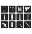 Black Hunting and arms Icons vector image