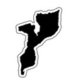 black silhouette of the country mozambique with vector image vector image