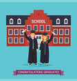 boy and girl graduates school building on a vector image vector image