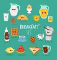 breakfast orange juice mafin toasts coffee vector image