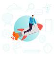 businessman flying on a rocket business startup vector image vector image