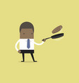 businessman making fresh pancakes on breakfast vector image