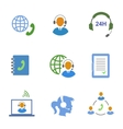 Call center service icons set of contacts mobile vector image