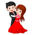 cartoon young boy and girl dancing vector image