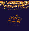 christmas greeting card with bokeh lights and vector image