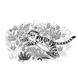 contour print tiger is jumping in tropical garden vector image