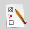 customer survey check mark vector image vector image