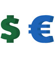 dollar and euro icon vector image vector image