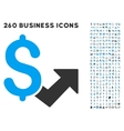 Dollar Growth Icon with Flat Set vector image vector image