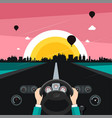 driving car on street with sunset city on vector image vector image