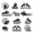 equestrian club logo racehorse sport emblems vector image vector image