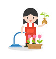 farmer or gardener and sapling in hand in flat vector image
