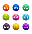funny cartoon colorful shaggy balls with eyes vector image vector image