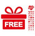 gift icon with love bonus vector image vector image