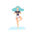 girl in tree pose young woman practicing yoga vector image vector image