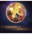 Halloween with full moon and witch on the night vector image vector image